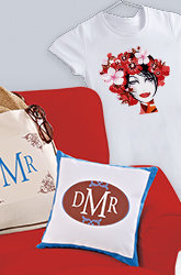 T-shirt with iron transfer of a face, two Monogrammed pillows with iron-on and fabric transfers