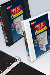 A black and white Heavy Duty Avery Binder