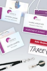 Examples of name badges on lanyards, pins, adhesive name tags, and retractable reels