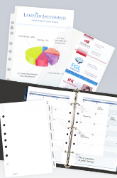 An open mini binder with calendar inserts and business card inserts