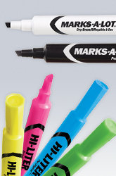 A Marks-A-Lot Dry erase marker, permanent marker and four colourful highlighters