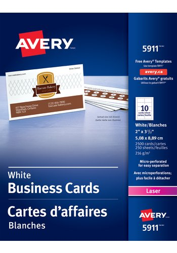 Avery® 05911 - Perforated Business Cards ,  2in. x 3-1/2in., Rectangle, White