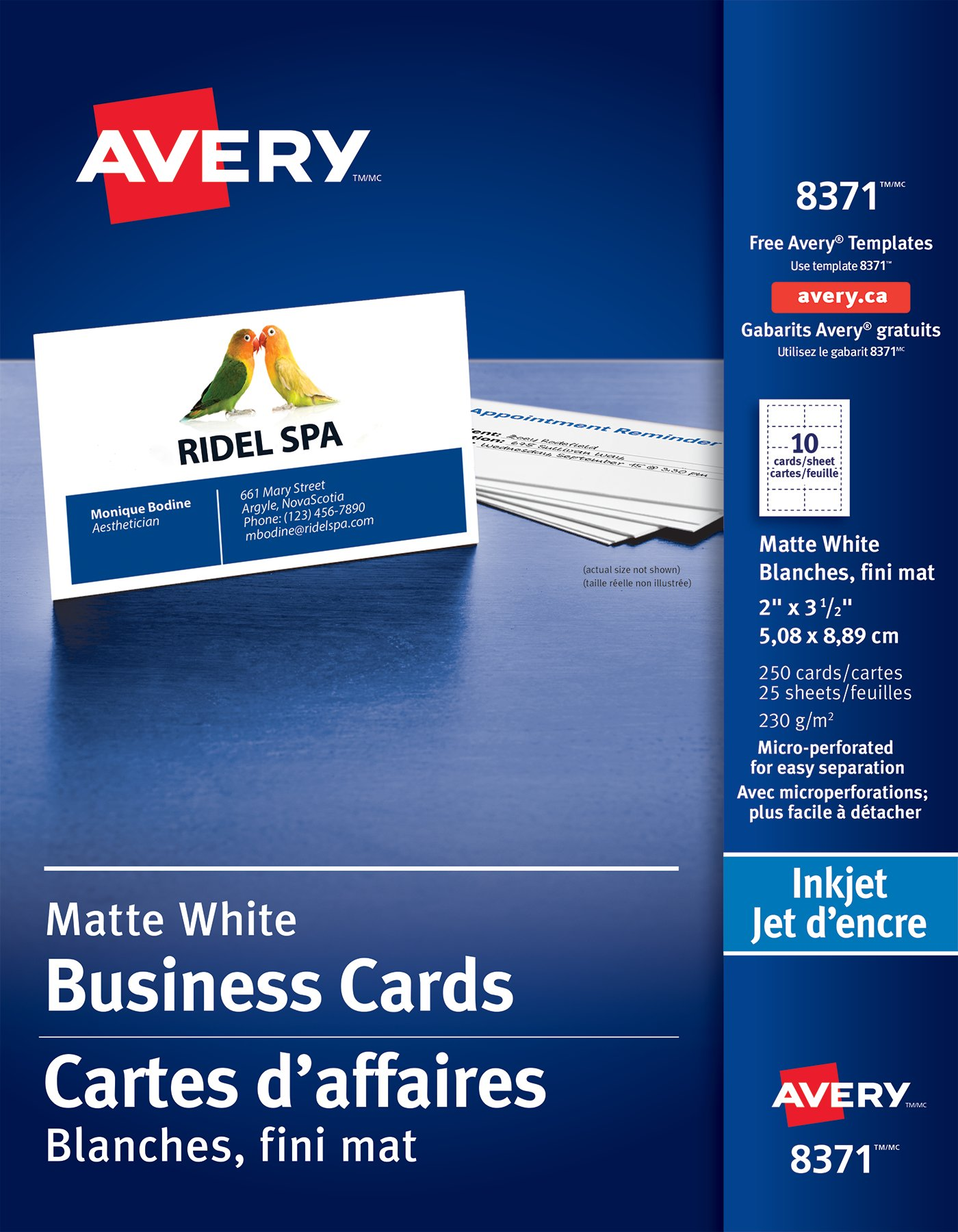 Avery 08371 Perforated Business Cards 2 X 3 12 Rectangle White