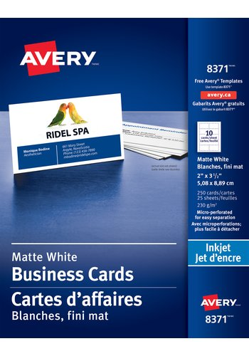 Avery® 08371 - Carte d'affaires perforées ,  2in. x 3-1/2in., Rectangulaire, Blanc