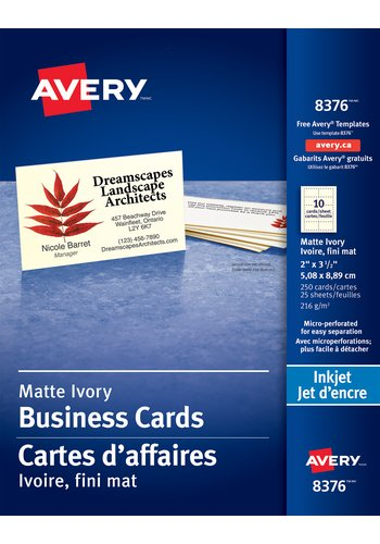 Avery® 08376 - Perforated Business Cards ,  2in. x 3-1/2in., Rectangle, Ivory