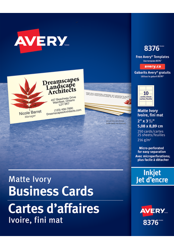 Avery 08376 perforated business cards 2 x 3 12 rectangle ivory averysupsup micro perforated business cards avery accmission Choice Image
