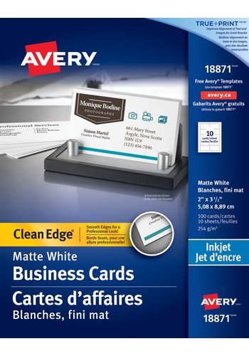 Avery® 18871 - Clean Edge® Business Cards ,  2in. x 3-1/2in., Rectangle, White