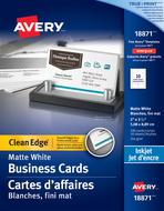Avery<sup>&reg;</sup> Carte d'affaires à coupe nette pour imprimantes à jet d'encre 18871