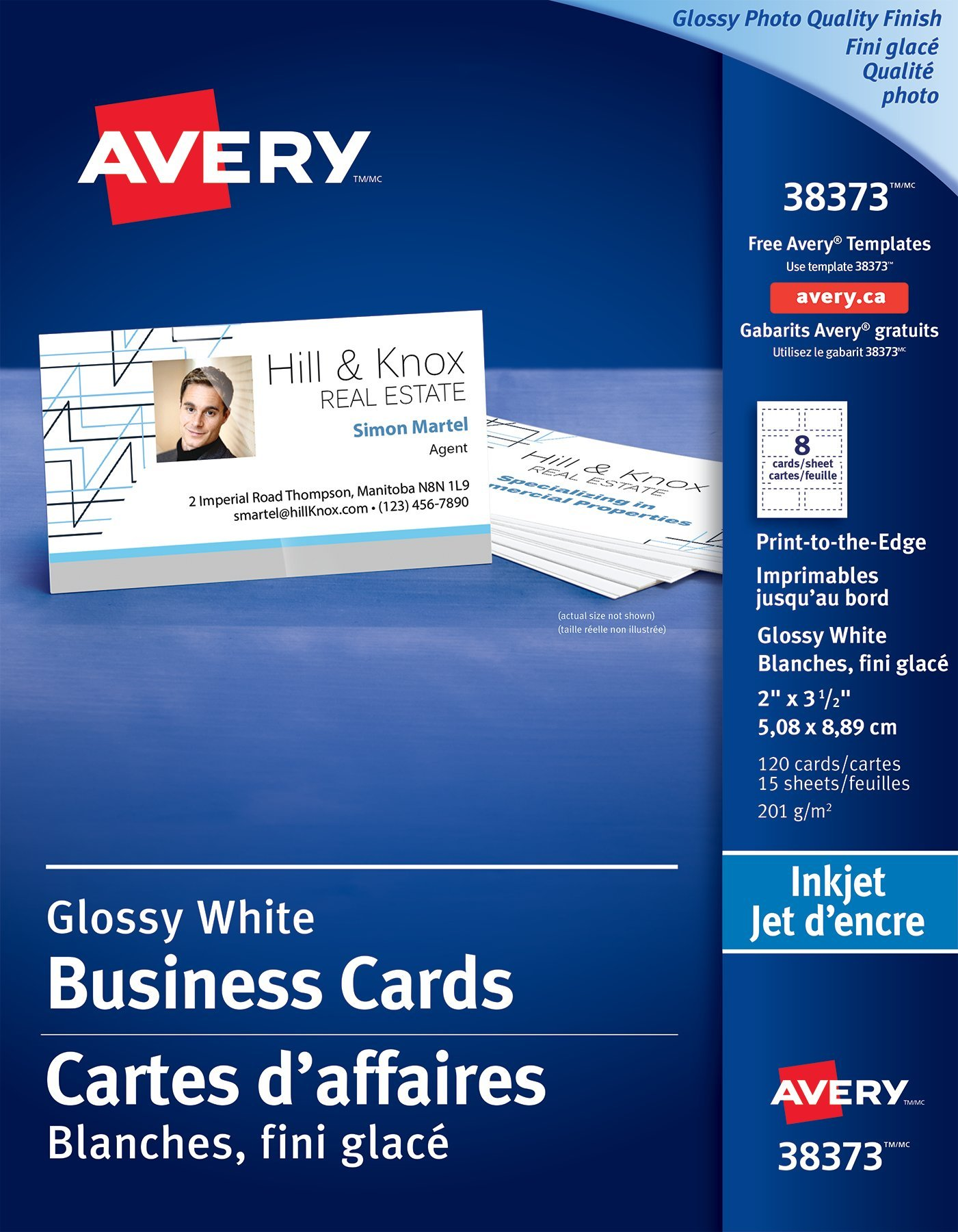 Business cards make your own online custom business card avery glossy photo quality business cards 38373 2 x 3 rectangle reheart Images
