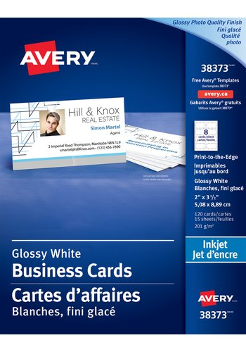 Avery® 38373 - Carte d'affaires à papier qualité glacé photo ,  2in. x 3-1/2in., Rectangulaire, Blanc