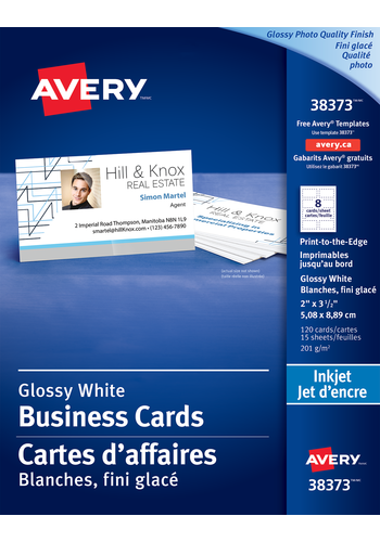 Avery<sup>&reg;</sup> Carte d'affaires à papier qualité glacé photo pour imprimantes à jet d'encre - Avery<sup>&reg;</sup> Carte d'affaires à papier qualité glacé photo