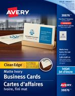 Avery<sup>&reg;</sup> Carte d'affaires à coupe nette pour imprimantes à jet d'encre 38876