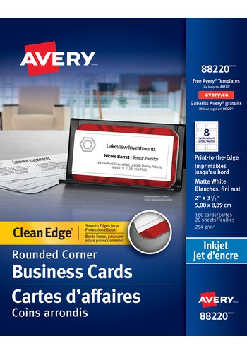 Avery® 88220 - Carte d'affaires à coupe nette ,  2in. x 3-1/2in., Coins arrondis, Blanc
