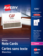 Avery<sup>®</sup> Cartes de notes pour imprimantes à laser 5315