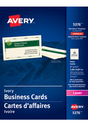 Avery 05376 perforated business cards 2 x 3 12 rectangle ivory averysupsup perforated business cards averysup accmission