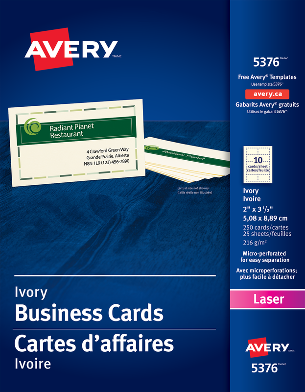 Avery 05376 Perforated Business Cards 2 X 3 12 Rectangle Ivory