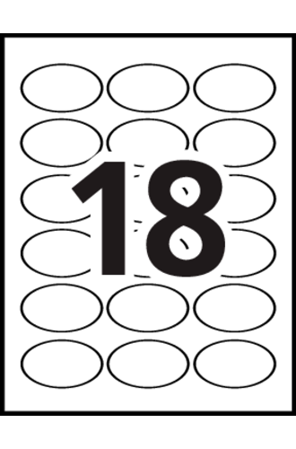 Avery® 16463 - Oval Labels, 18 per sheet - Word Template