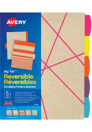 Avery® 24936 Intercalaires réversibles à gros onglets Big Tab,  8-1/2in. x 11in.,Kraft Brun