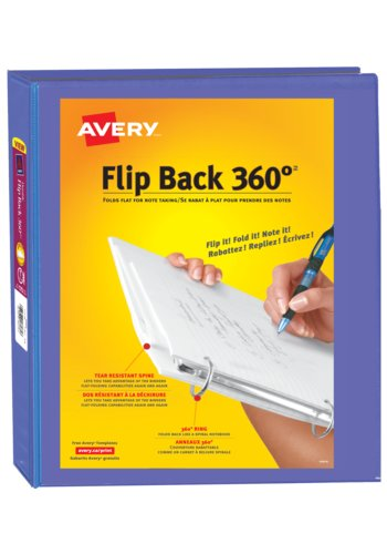 Avery® 17302 - Flip Back® 360° Binder with, 1in., Round Ringsr,  Holds 8½in. x 11in.
