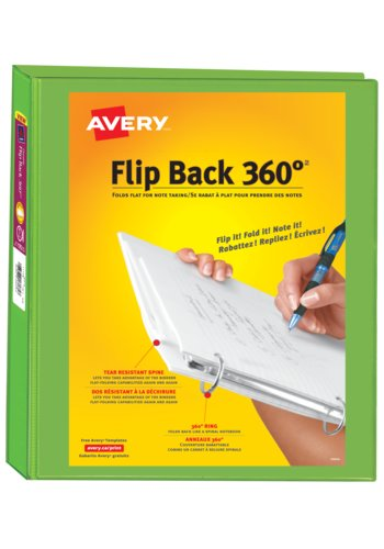Avery® 17303 - Reliure Flip Back 360°,  Pour 8½ in.x 11in. Papier, Chartreuse