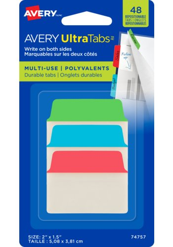 Avery UltraTabs™ - Multi-use, 2in. x 1-1/2in., Repositionable, Two-Side Writable Tabs