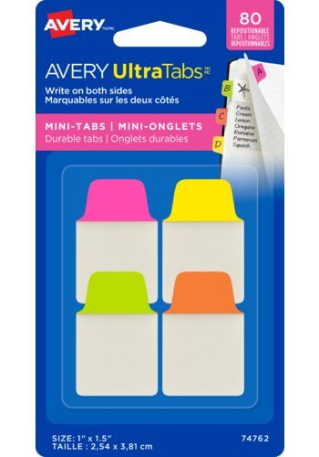 Avery UltraTabs™ Mini-Tabs 1in. x 1-1/2in., Repositionable, Two-Side Writable Tabs