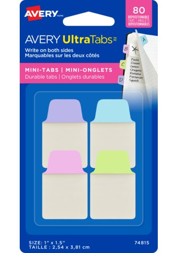 Avery UltraTabs(MC) Mini-Onglets 1in. x 1-1/2in., Onglets repositionnables, marquables sur les deux côtés, 74815