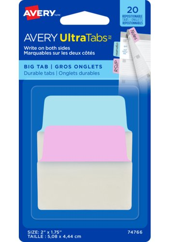 Avery UltraTabs(MC) - Gros onglets 2in. x 1-3/4in., Onglets repositionnables, marquables sur les deux côtés, 74766