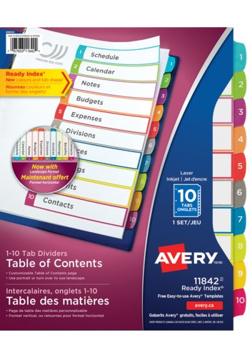 Avery® 11842 - Ready Index® Intercalaires personnalisables avec table des matières,  8-1/2in. x 11in., Multi-couleur