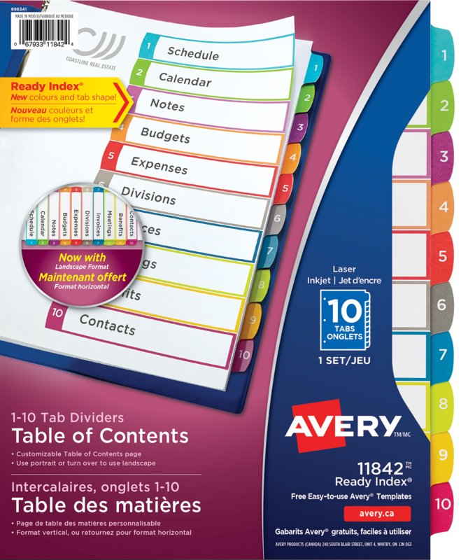 Avery 11842 Ready Index Customizable Table Of Contents Dividers