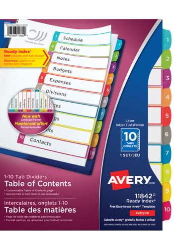 Avery<sup>&reg;</sup> Ready Index<sup>&reg;</sup> Customizable Table of Contents Dividers - Avery<sup>&reg;</sup> Ready Index<sup>&reg;</sup> Customizable Table of Contents Dividers