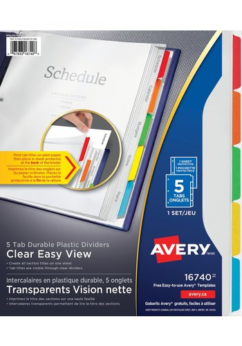 Avery<sup>&reg;</sup> Intercalaires transparents Vision nette en plastique durable, 5 onglets - Avery<sup>&reg;</sup> Intercalaires transparents Vision nette en plastique durable