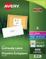 Avery<sup>&reg;</sup> Étiquettes d'adresse écologiques pour imprimantes à laser ou jet d'encre 48467