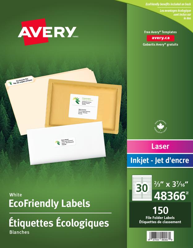 Avery Eco-Friendly File Folder Labels, 48366, 3-7/16