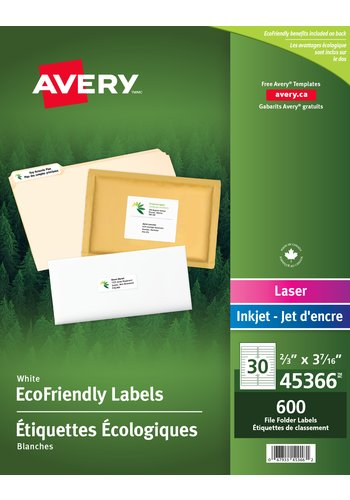 Avery® 45366 - Eco-Friendly File Folder Labels ,  3-7/16in. x 2/3in., Rectangle, White
