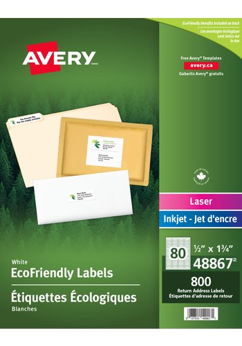 Avery Eco-Friendly Return Address Labels, 48867, 1/2in. x 1-3/4in., White