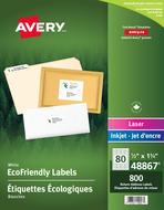 Avery<sup>&reg;</sup> Étiquettes d'adresse écologiques pour imprimantes à laser ou jet d'encre 48867