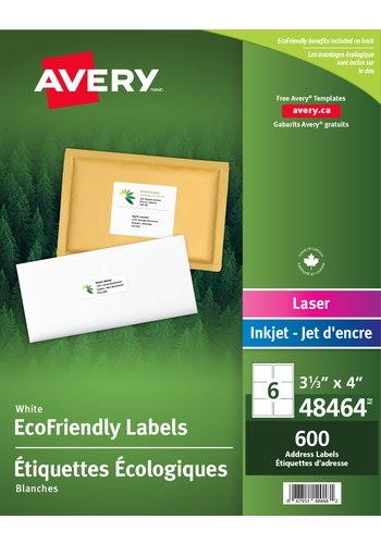 Avery® 48464 - Eco-Friendly Shipping Labels ,  3-1/3in. x 4in., Rectangle, White