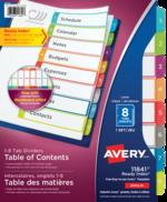 Avery<sup>&reg;</sup> Ready Index<sup>&reg;</sup>Intercalaires personnalisables avec table des matières 11841