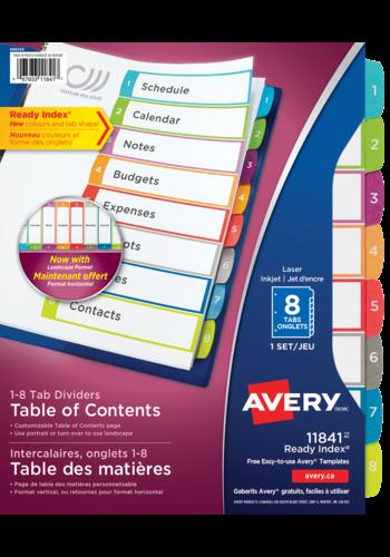 Avery<sup>&reg;</sup> Ready Index<sup>&reg;</sup>Intercalaires personnalisables avec table des matières - Avery<sup>&reg;</sup> Ready Index<sup>&reg;</sup>  Intercalaires personnalisables avec table des matières
