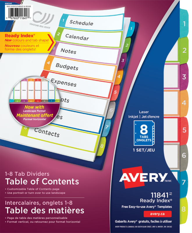 Avery 11841 Ready Index Customizable Table Of Contents Dividers