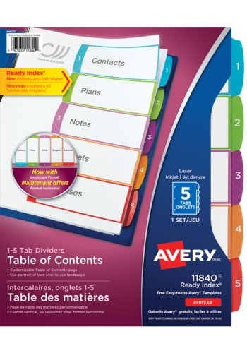 Avery® 11840 - Ready Index® Intercalaires personnalisables avec table des matières,  8-1/2in. x 11in., Multi-couleur