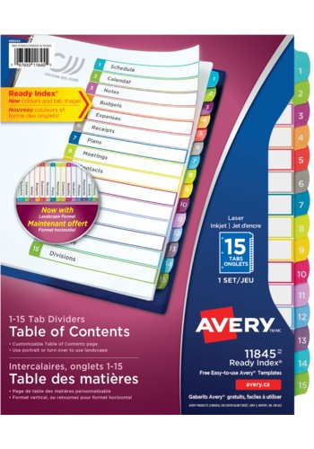 Avery 15 tab dividers template for cover pgpigi for Avery table of contents template 15 tab