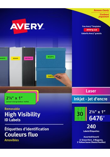 Avery® 6476 - Removable ID Labels , 2-5/8in. x 1in., Rectangle, Assorted Neon