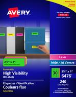 Avery<sup>&reg;</sup> Étiquettes d'identification Voyantes Couleurs Fluo Amovibles pour imprimantes à laser ou jet d'encre 6476