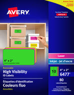 Avery<sup>&reg;</sup> High Visibility Removable ID Labels 6477