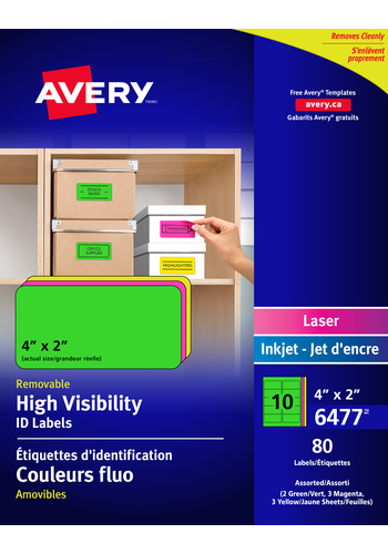 Avery<sup>&reg;</sup> High Visibility Removable ID Labels - Avery<sup>&reg;</sup> High Visibility Removable ID Labels