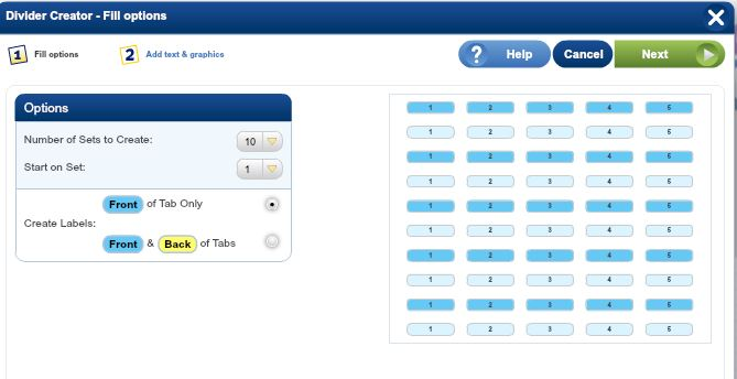 Select number of Index Maker Divider sets