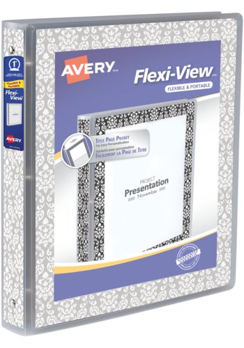 Avery® 17658 - Flexi-View™ Binder,  Holds 8½in. x 11in. Paper, White Damask on Grey