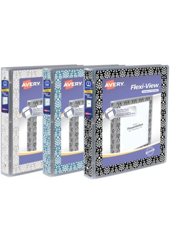 Avery® 17640 - Flexi-View™ Binder,  Holds 8½in. x 11in. Paper, Assorted Damask